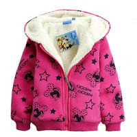 New fashion children cartoon minnie hoodies kids girls long sleeve fleece sweatshirt outerwear spring thick warm hoodies jacket