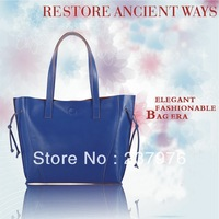 2013 Fashion plain pure color genuine leather lady portable shoulder bag with leopard pattern print inner bag