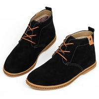 Male winter boots genuine leather ankle boots high-top shoes fashion business casual male flats A05