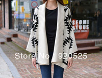 1016 Free Shipping New Womens Geometric Aztec Oversized Open Front Loose Sweater Jacket Wrap Cape Cardigan Coat Batwing Sleeve