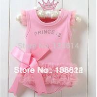 Free Shipping Girls Baby Pink Princess Dress Kids One-piece Dress 0-36M Drop Shipping