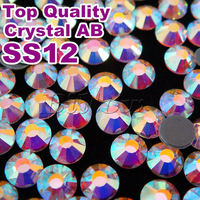 Top Quality!Hot Fix Rhinestone Hotfix Stone SS12 3.0-3.2mm White AB10gross/bag,Iron-on Crystal,Silver Flatback
