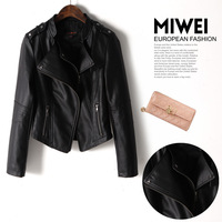 Women's Fashion Black PU Leather Jacket Women Was Slim Women Coat