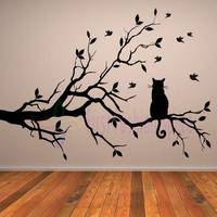 Cat On Long Tree Branch DIY Vinyl Wall Sticker Animals Cat Birds Wall Decal Art Transfers Home Decor Free Shipping Size 70x106cm