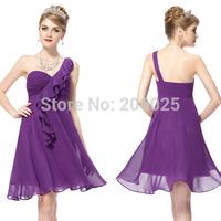 Free Shipping 03592 Modern One Shoulder Chiffon  Ruffles Padded Falbala Bridesmaid Dress