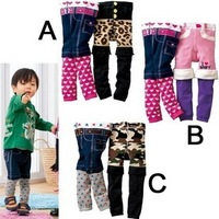 2pcs/lot Toddler boys girls Fashion Knitted Autumn Pants Baby Print Skinny Pants Cute DesignsTrousers For Spring SZ 9M,3T
