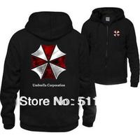 Free Shipping Cheapest Mens Hoodies Resident Evil Biohazard Umbrella Full Sleeve Cosplay Costume Coat Sweatshirts