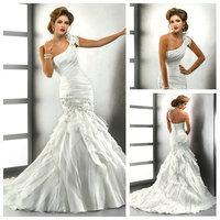One Shoulder New Design  Custom Made Organza Mermaid Wedding Dress Bride Wedding Gown