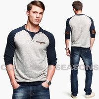 American leisure men tee shirt thicken autumn wear t-shirts men elegant raglan sleeve t shirt