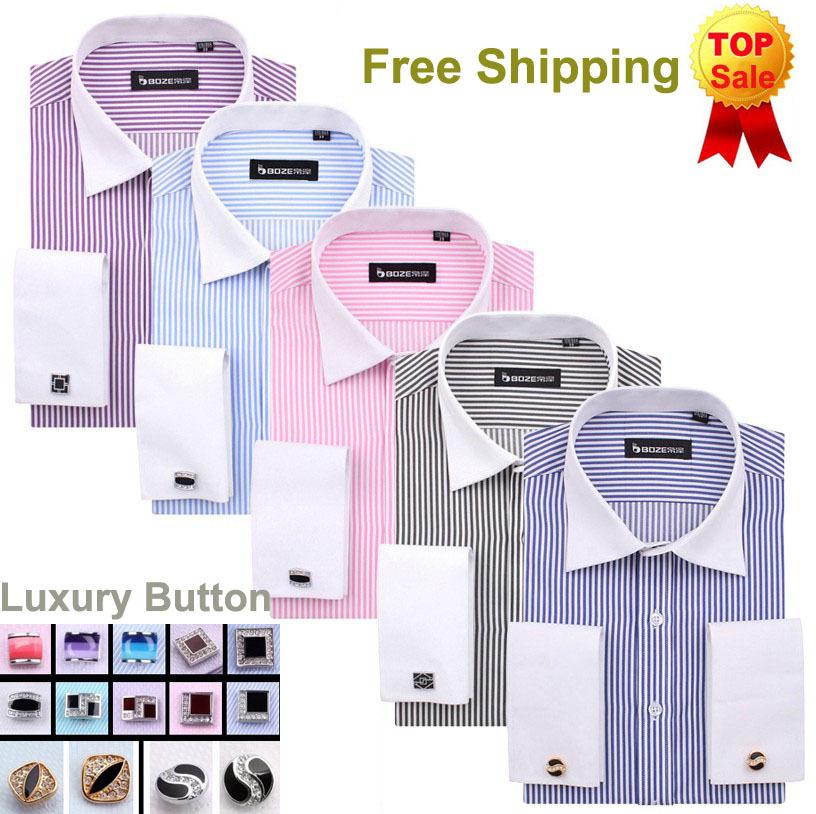 French Cuff Button Men Dress Shirts 2014 New Non Iron Luxury Slim Fit Long Sleeve Brand Formal Business Fashion Shirts B0855(China (Mainland))