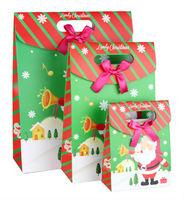 Free Shipping 3pcs Christmas Day Gift Packing paper Bag Wrapping bags Santa Claus bowknot  wholesale drop shipping