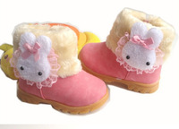 Free shipping! 2014 New winter boots girls snow boots authentic Korean version of a small rabbit shoes Children's boots