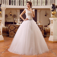 Free Shipping 2014 Suzhou Outlet Selling New Fashion Double-Shoulders Short Sleeves Back Lace Up Wedding Dress