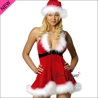 2013 Sexy Christmas Dress Women Christmas Costumes Red Velvet Fur Trim Dress Sexy Outfit Party Christmas Day hat,dress  O/S