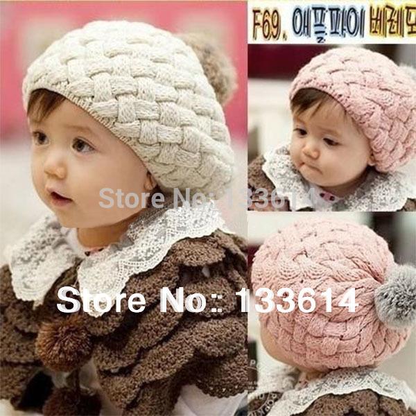 Hot Selling SKids Girls Baby Handmade Hat Crochet Knitting Beret Hats Caps Cute Winter Beanie Free&Drop Shipping(China (Mainland))