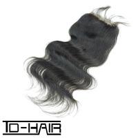 "Peruvian Hair Body Wave Top Lace Closure 4*4"" 100% Virgin Human Remy Hair natural color 1b#, Free shipping TD-HAIR"