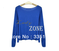 2013 Cool Loose Batwing Sleeve Tee Base Shirt for Women Fluorescent Candy Color T-shirt Long-Sleeved Knit Blouse Women's 17870