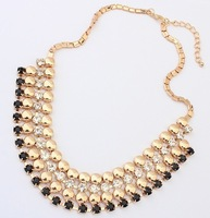 Mini Order USD10(Mixed) 3 Colors Fashion Western statement elegant Chain Rinestones Punk Party choker necklace jewelry