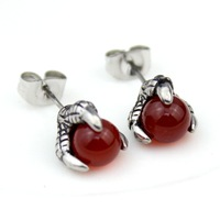 red agate earrings for men and  women  Fashion Stainless steel stud earrings  christmas gift