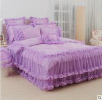 4pcs/6pcs Korean purple king/queen/twin size bedding set new arrival princess comforter bedding sets lace bed skirt/bedspread