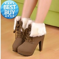 Korean version of the new winter boots fur boots lace boots thick with high-heeled boots, short boots Knight