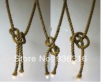 Free shipping Personality hemp rope pendant light vintage lamp american handmade the preparation of pendant light