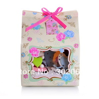 "Free shipping ""Love in the afternoon PVC window 4 cake boxes include of insert and tag BF174"