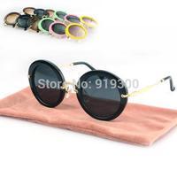Free Shipping 2014 Women Fashion Brand New Round Circle Sunglasses Vintage Retro Metal Flash Crystal Sun Glasses   # WY130