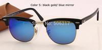 original box case top quality designer unisex sunglasses rb men women clubmaster 3016 black blue mirror 901/17 in box