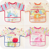 Free Shipping New Baby Toddler Coverall Bib Apron With Cute Animals And Waterproof Backing
