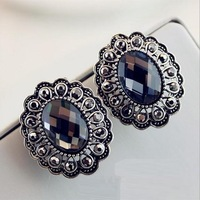 Vintage Statement earrings new fashion big flower crystal stud earrings for women lot wholesale cheap free shipping
