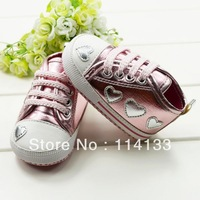 Free shipping Love pink and silver soft bottom baby girl shoes, prewalker,kids shoes