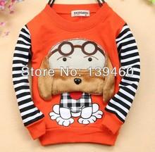 free ship kid girl boys baby children clothes fashion stripe dog print cotton hoodies outwears sweatsshirts long sleeve sweaters(China (Mainland))