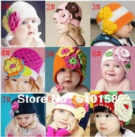 Hot 22colors to choose Retail Baby Crochet Hat Child Crochet Flower Hat Kids Crochet Caps Baby Handmade Knitted Spring Beanie