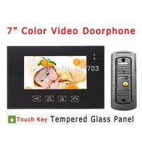"7"" Color Video Door Phone Touch Key indoor Monitor Pinhole Camera Night Vision Waterproof door phone Home Video Intercom"