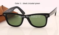 100% UV original box case brand name wayfarer sunglasses 2140 901 50mm black acetate frame glass lens men women fashion glasses