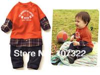 2014 Spring baby clothes orange colorant match plaid children's romper child clothing    692220