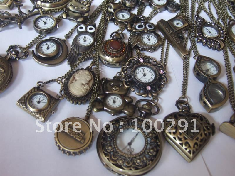 Can Choose design Wholeslae Antique Brass Bronze Pocket Watch Charm Pendant Watch Necklace Nickel Free Lead Free !!!(China (Mainland))