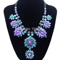 Hot Selling Luxurious Flower Pendants Bib Statement Necklace for Women