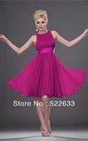 Free Shipping Fuchsia A-line Knee-length Jewel Cheap Cocktail Dresses 2014
