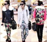 2013 Winter Large Fur Collar Down Coat Women'S Set Cotton-Padded Jacket Female Slim Twinset  Print Outwear Flower Pants YT1020