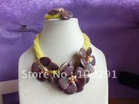 6mm yellow color crystal beads chian coffe color shell flowers neckalce+bracelet set