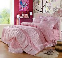 Yous Home Textiles,Pure Cotton Korean Pink 4pcs Bedding sets duvet cover flat sheet pillows bedspread bedclothes bedding sheet