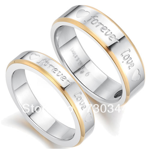 Lovers 316L stainless steel ring, forever love design, with magnetic hematite, 18k gold plated, sold by lot (10pcs/lot)(China (Mainland))
