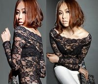 Plus size XXXXL new blouse for women 2014 spring summer slash neck sexy long-sleeve lace transparent gauze blouses & shirts C225
