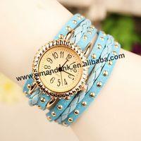 100pcs/lot rivet bracelet leather long wrap around wristwatch popular lady watch woman dress watch punk dazzling fashion watches