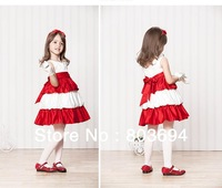 Retail 2014 new design girls' party dress with bow, girls' Cake princess dress  LS-001