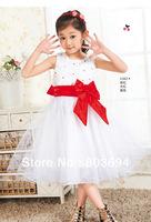 Wholesalegirls' party dress ,girls' sleeveless dresses,Rose point drill flower dress with red bow ,6pcs/lot LS-1213