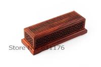 Red acid branch five holes carved incense stick box or incense burner