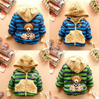 Winter Baby Coats Thick Cotton-padded Coats Cute Cartoon Bear Infant Boy Girl Outerwear for 0--3 years